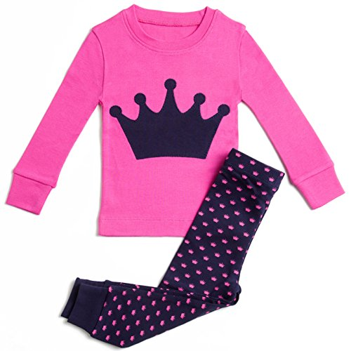 Girls Pajamas Princess Crown 2 Piece 100% Super Soft Cotton,7 Years,Hot Pink / Navy