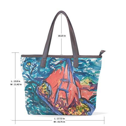 Coosun Womens abstrakte Malerei Pu Leder Tote Handtasche Schultertasche L
