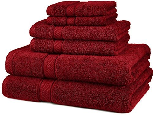 - Hotel collection towels-Premium 6 Piece 100% Egyptian Cotton 725 Gram Bath Towels Set-Cranberry Red-Bath towels luxuriously soft and incredibly absorbent-Guaranteed!