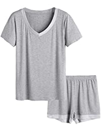 c2e7dd0d31 Women s V-Neck Sleepwear Short Sleeve Pajama Set