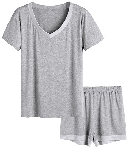 Latuza Women's V-Neck Sleepwear Short Sleeve Pajama Set 2X Light Gray