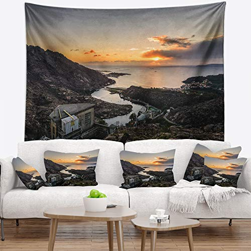 Designart TAP15246-39-32 'Ezaro Panorama Galicia Spain' Landscape Tapestry Blanket Décor Wall Art for Home and Office, Medium: 39 in. x 32 in, Created on Lightweight Polyester Fabric by Designart