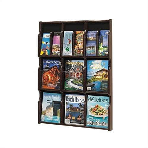 - Safco Products 5702MH Expose Literature Display, 9 Magazine 18 Pamphlet, Mahogany/Black