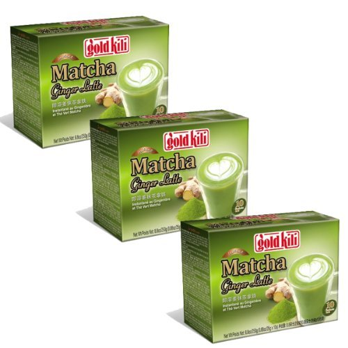 Gold Kili Instant Matcha Green Tea Ginger Latte (Pack of 3) 30 Packets