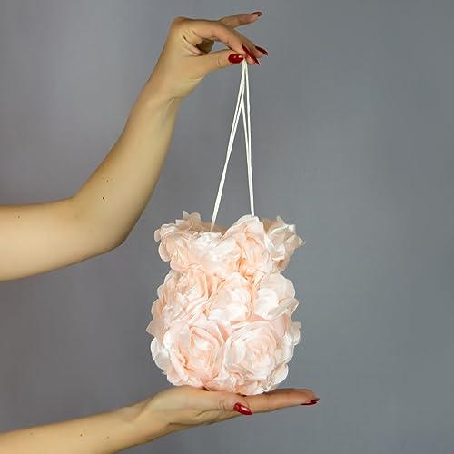 Bolso flores saten novia boda fiesta navidad vestido comunion rosa palo pink rose