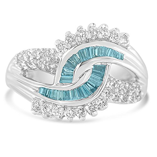 14K White Gold Round and Treated Blue Baguette Diamond Swirl Ring (1 cttw, Blue Color, I1-I2 Clarity) Baguette Diamond Swirl Ring