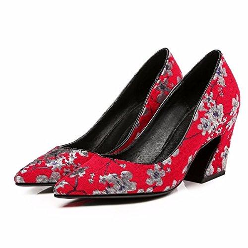 Dimaol Scarpe Da Donna In Vera Pelle Primavera Autunno Comfort Talloni Tacco Per Casual Rosso Grigio Rosso
