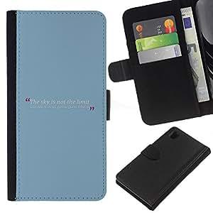 """Be-Star la tarjeta de Cr¨¦dito Slots PU Funda de cuero Monedero caso cubierta de piel Para Sony Xperia Z1 L39 ( Azul beb¨¦ Citar mensaje de texto minimalista"""" )"""