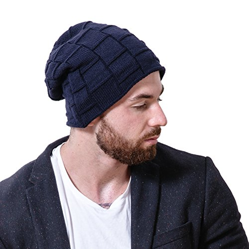 A-DUDU Beanie Hat for Men, Winter Warm Soft Slouchy Skull Cap, Comfortable Knit Thick Skullies Beanies (Dark Blue)
