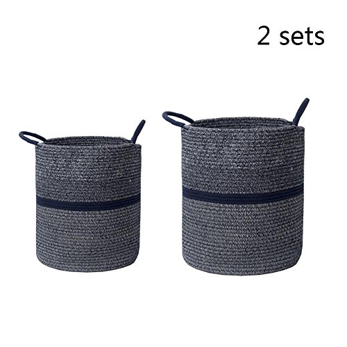 TSAR003 Europe And The United States Simple Cotton Wash Laundry Hamper Or Basket Dirty Clothes Toys Storage Laundry Hamper Or Basket , Navy Blue , Sets by TSAR003