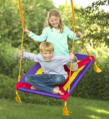 Magic Cabin Magic Carpet Giant Rectangular Platform Tree Swing for Kids - Durable Polyester Mat with Padded Steel Frame - 250 LB Weight Capacity - 40 L x 30 W with 63'' L Hanging Ropes - Giants Carpet