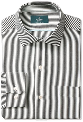 BUTTONED DOWN Men's Classic Fit Spread-Collar Non-Iron Dress Shirt, black Bengal Stripe, 17.5