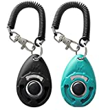 Image of HoAoOo Pet Training Clicker with Wrist Strap - Dog Training Clickers (New Black + Blue)