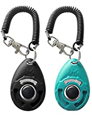 Pet Training Clicker with Wrist Strap - Dog Training Clickers (New Black + Blue)