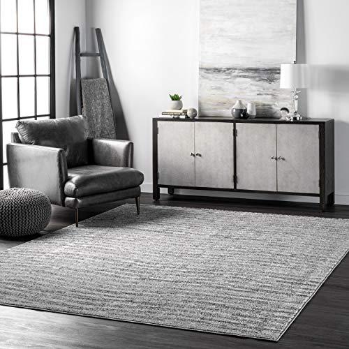 nuLOOM Sherill Ripple Modern Abstract Living Room or Bedroom Area Rug, 6′ 7″ x 9′, Grey