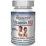 Biomenta® VITAMIN B12 HOCHDOSIERT | 1.100 µg Methylcobalamin + Vitamin D3 + Biotin + Folsäure | 4 MONATSKUR | 120 vegetarische Vitamin-B12-Tabletten