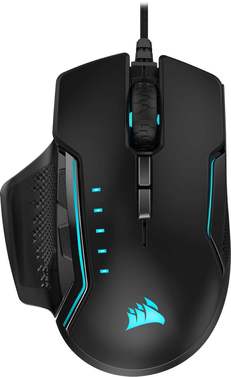 CORSAIR Glaive Pro - RGB Gaming Mouse - Comfortable & Ergonomic - Interchangeable Grips - 18,000 DPI Optical Sensor - Black