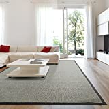 iCustomRug Zara Contemporary Synthetic Sisal Rug, Softer Than Natural Sisal Rug, Stain Resistant & Easy To Clean . Beautiful Border Rug in Grey 7 Feet 10 Inches x 10 Feet (8' x 10')
