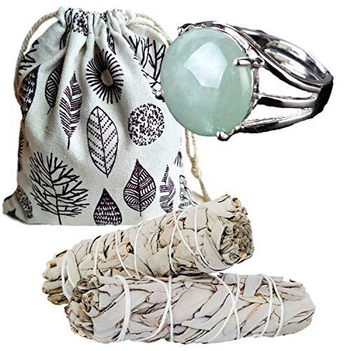 Worldly Finds Sage Smudge Sticks Smudging Kit, Healing Stones, Avertine Jewelry, Green Ring,Adjustable Ring, Metaphysical Gifts (Green Aventurine Ring Set)