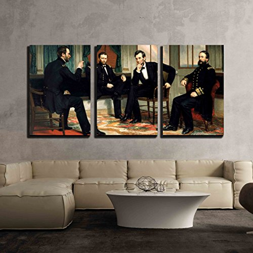 wall26 - 3 Piece Canvas Wall Art - the Peacemakers (Abraham Lincoln at Civil War Time) by George Peter Alexander Healy - Modern Home Decor Stretched and Framed Ready to Hang - 24