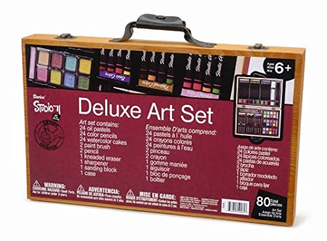 amazon com darice 80 piece deluxe art set art supplies for