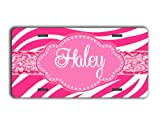 zebra pink car accessories - Monogrammed car accessory personalized license plate - Hot pink zebra stripe with your name- personalized car tag car accessory