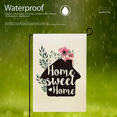 Agantree Art Home Sweet Home Garden Flag Spring Summer Waterproof Double Sided Flag Yard Outdoor Decorative 12 x 18 Inch