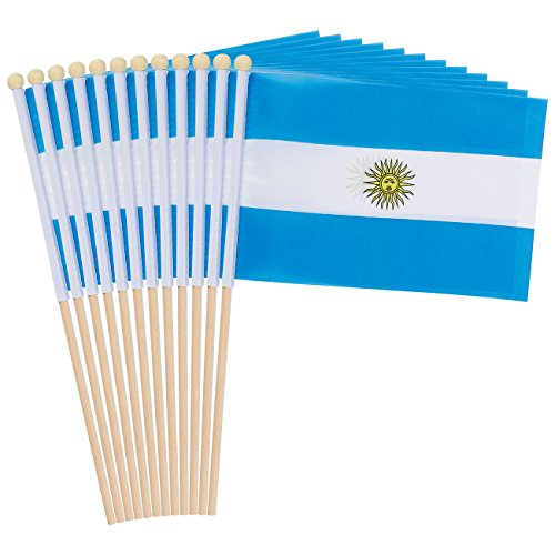Juvale 12-Piece Argentina Stick Flags - Argentinian Hand-held Flags, Polyester Country Stick Flag Banners, Decorations Parties, Parades, Sports Events International Festivals- 5.5 x 8.3 inches