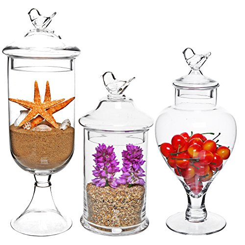 MyGift Bird Top Handle Design Clear Glass Apothecary Jar Centerpieces/Wedding Candy Buffet Containers (Set of 3)