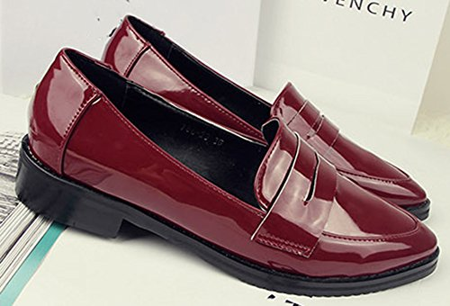 Idifu Mujeres Casual Puntiagudo Slip On Oxfords Low Top Chunky Tacones Zapatos De Oficina Vino Rojo