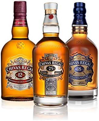 Chivas Regal Scotch Whisky - Juego de 3 vasos de whisky (12 años, 18 años y 25 años, whisky, alcohol, 3 x 700 ml)