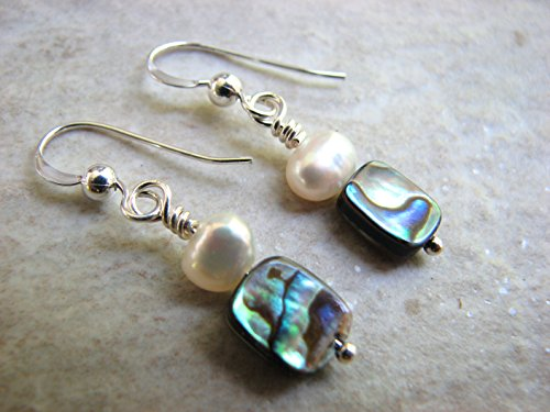 Abalone Shell French Wire - Abalone and Pearl Small Dangle Earrings