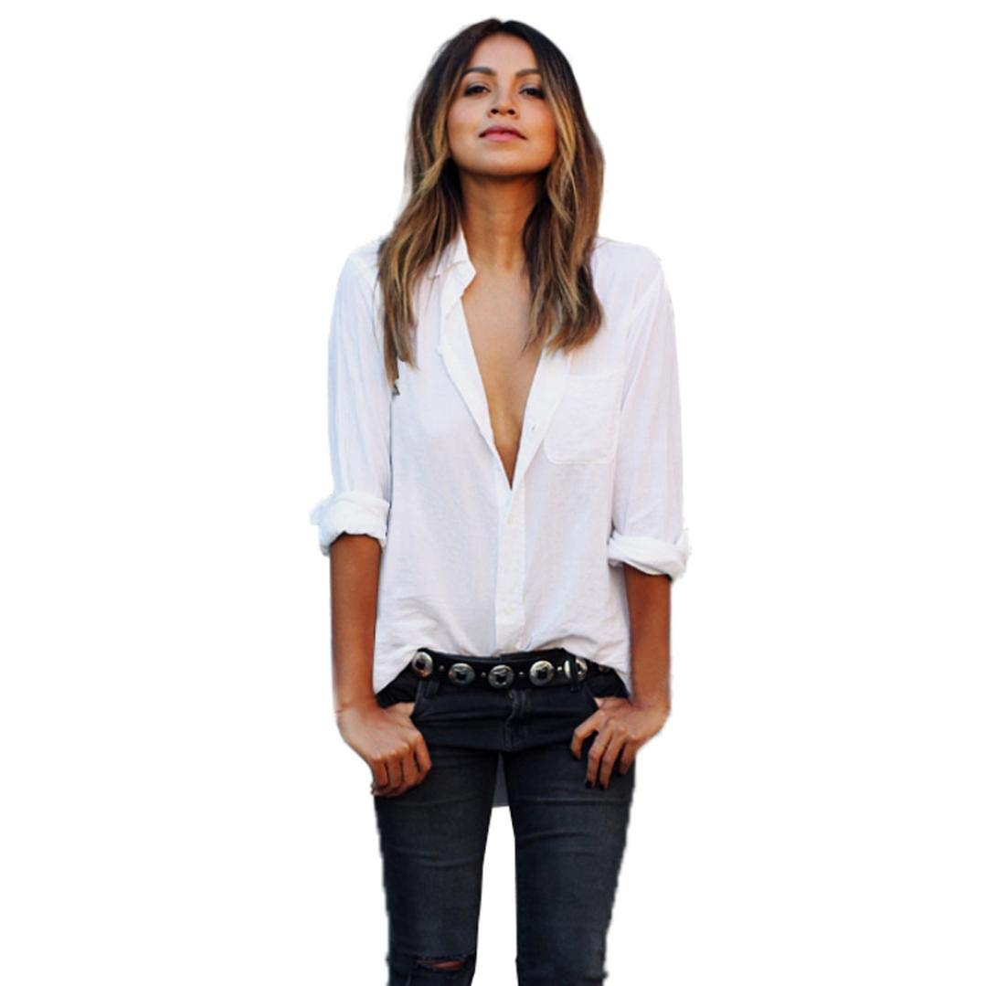 VJGOAL Las Mujeres Flojas Ocasionales Sexy V Cuello Largo de Gran tamaño de Bolsillo Clásico Salvaje Blanco Solapa Camisas Tops: Amazon.es: Ropa y ...