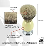 GBS Silvertip Badger Bristle Shave Brush with Free stand (Ivory) Review