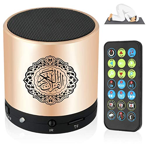 Siruiku Remote Control Speaker Portable Quran Speaker MP3 Player 8GB TF FM Quran Koran Translator USB Rechargeable Speaker (Best Translator English To Urdu)