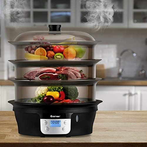 COSTWAY Food Steamer Vegetable Steamer 3 Tier Stackable Baskets 20 Quart Capacity 1000W Fast Heat-Up Timing, Automatic Shut Off, Appointment Electric Pot Cooker w/Food Tray by COSTWAY (Image #1)