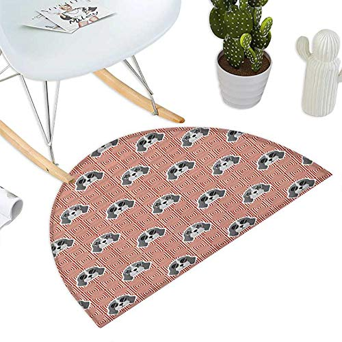 Dog Semicircular Cushion Beagle Puppies with Sunglasses Abstract Geometric Pattern Checkered Squares Entry Door Mat H 43.3'' xD 64.9'' Red Grey Pale Grey