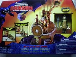 Spin Master How to Train Your Dragon - Estuche con juego de catapulta de combate (con plataforma y figuras, no apto para menores de 5 años), basado en la película Cómo entrenar a tu dragón