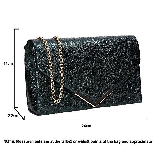 SWANKYSWANS Faux Teal Prom Averie Womens Crushed Clutch Party Leather Bag ppvwUq
