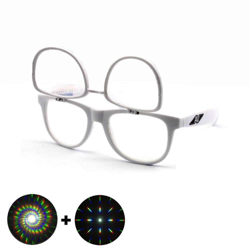 Flip Up Double Diffraction Glasses - White Auroravizion