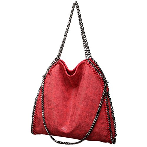 Hobo Travel Red Shoulder Bag Casual PU Chain TOYIS Women Use for Leather Daily Strap Handbag Shopping Totes Large 6tTg4qx