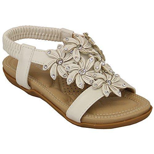 Donna Sandali con strass FIORI SLIP ON BASSE PUNTA APERTA CINTURINO scarpe