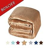 H.Versailtex Fleece Blanket King Size Super Soft Warm Fuzzy Lightweight Bed Couch Blanket, Sweet and Comfort Flannel Velvet Plush Blanet - (Solid Camel, 90 x 108 - Inch)