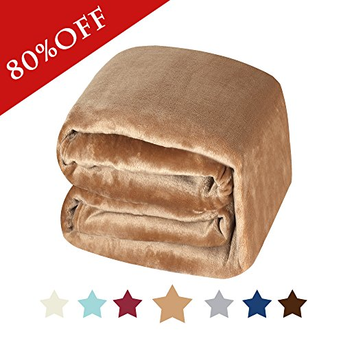 Flannel Fleece Blanket King Size Super Soft Warm Fuzzy Lightweight Bed Couch Blanket, Sweet and Comfort Flannel Velvet Plush Blanet - (Solid Camel, 90 x 108 - Inch)