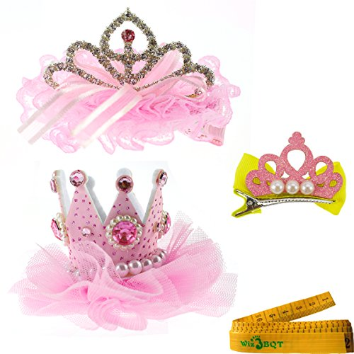 Wiz BBQT 2 Pcs Adorable Cute Cat Dog Pet Birthday Party Crown Shaped Lace Hair Clips and 1 Pcs Crown Shaped Clip for Kitten Puppy Small Dogs Cats Pets (C)
