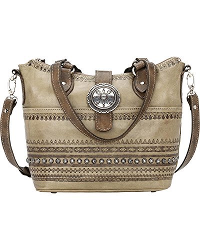 American West Women's Trading Post Convertible Zip Top Bucket Tote Sand One Size by American West
