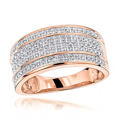 Luxurman Unique Wedding Bands 10K Five Row Natural 0.4 Ctw Diamond Ring For Men (Rose Gold Size 8.5)