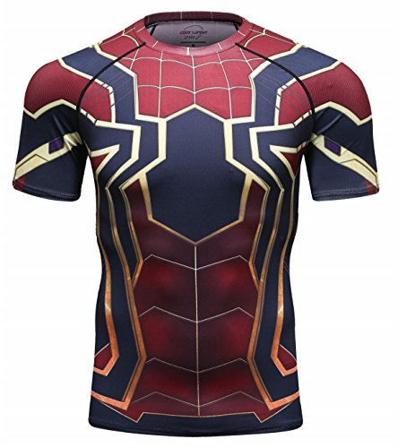 Spider Short Sleeve Tees - Red Plume Men's Compression Shirt Short Sleeve Tops Running Ants Base Layers Tee (Ants, XXL)