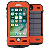 SnowLizard SLXtreme iPhone 7 Case. Solar Powered, Rugged and Waterproof with a built in Battery - Signal Orange