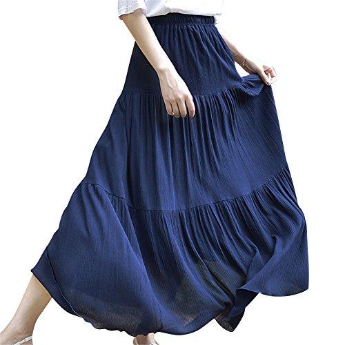 MISSMAO Jupe Femme Casual Style Jupe Taille Haute Maxi Longue Jupe Uni Longue Cheville Jupe Plisse Boheme Jupe Longue Rtro Bohme Marine